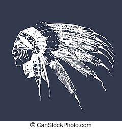 Wektor, na wolnym powietrzu, emblemat, Turysta, obóz, Ilustracja, Ręka, przygody, indianin, etykieta,  sketched, portret,  Hipster,  logo