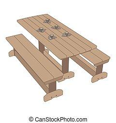 wektor, na wolnym powietrzu, piknik, park, ilustracja, ława, drewno, tło, stół, ikona