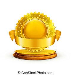 wektor, nagroda, złoty