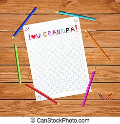 wektor, napis, dzieciaki, miłość, barwny, barwny, pociągnięty, drewniana ręka, notatnik, pencils., listek, dziadunio, ty, stół