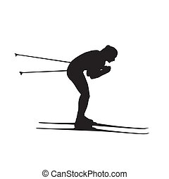wektor, narciarz, kraj, krzyż, odizolowany, dziewczyna, narciarstwo, sylwetka