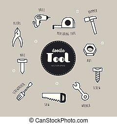 wektor, narzędzia, komplet, doodle., icons.