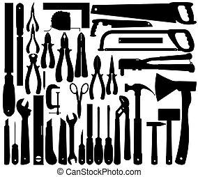 wektor, narzędzia, sylwetka, praca, instruments.