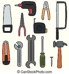 wektor, narzędzia, zbudowanie wystawiają