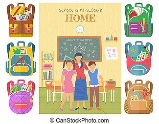 wektor, nauczyciel, szkoła, klasa, uczniowie