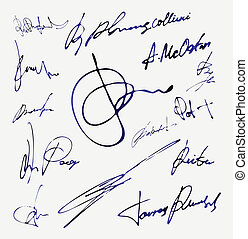 wektor, nazwa, autograf, podpis