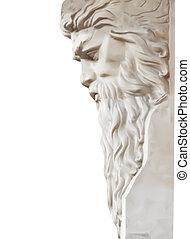 wektor, neptun, odizolowany, statua, white.