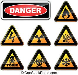 wektor, niebezpieczeństwo, znaki