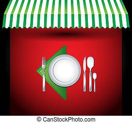 wektor, nożownictwo, restauracja