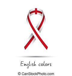 wektor, nowoczesny, anglia, barwny, abstrakcyjny, bandera, odizolowany, kolor, tło, wstążka, angielski, logo, biały, robiony, świadomość