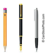 wektor, ołówek, pióro, komplet, ikony