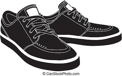 wektor, obuwie, sport