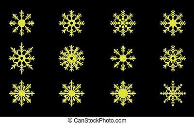 wektor, od, sprytny, płatki śniegu, zbiór, odizolowany, na, ciemny, tło., płaski, i, stały, farbować zamiar, śnieg, ikony, silhouette.