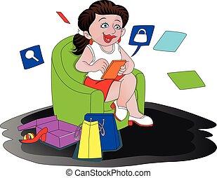 wektor, od, szczęśliwa kobieta, zakupy, online.