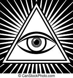 wektor, oko, trzeci, znak