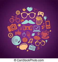 wektor, okrągły, pojęcie, z, modny, hipster, ikony