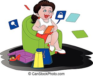 wektor, online., kobieta shopping, szczęśliwy