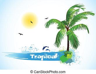 wektor, orzech kokosowy, palm., morze