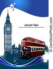 wektor, osłona, ilustracja, images., londyn, broszura