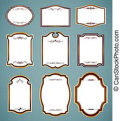 wektor, ozdobny, komplet, ilustracja, frames.