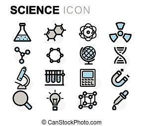 wektor, płaska lina, nauka, ikony, komplet