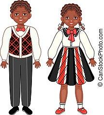 wektor, płaski, afrykanin, czarny chłopiec, dziewczyna, dzieciaki, uśmiechnięty.