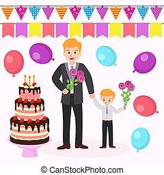 wektor, płaski, barwny, mamusia, rodzina, candles., ojciec, birthday., ilustracja, syn, wielki, ciastko, s, urodziny, bandery, baloons, macierz, kwiaty, partia., rysunek, szczęśliwy