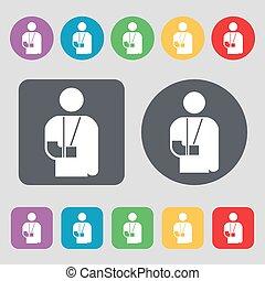 wektor, płaski, buttons., barwny, ikona, poznaczcie., inwalidztwo, złamana ręka, komplet, 12, design.