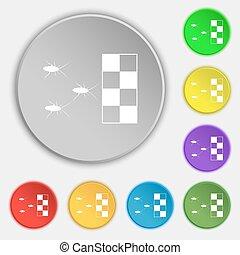 wektor, płaski, buttons., poznaczcie., karaluch, klasy, osiem, symbol, ikona