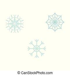 wektor, płaski, graficzny, płatki śniegu, prosty, -, ilustracja, woda, mrożony, komplet, style., elementy