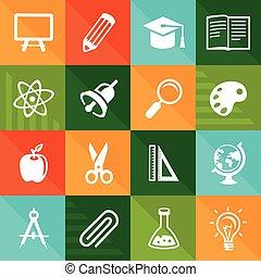 wektor, płaski, ikony, -, wykształcenie i nauka