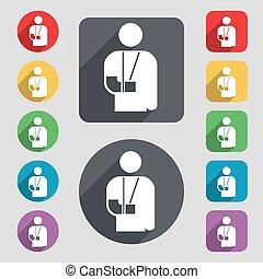 wektor, płaski, komplet, barwny, poznaczcie., inwalidztwo, długi, pikolak, złamana ręka, 12, ikona, shadow., design.