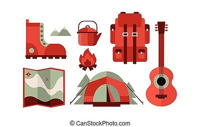 wektor, płaski, komplet, obozowanie, ikony, gitara, podróż, czajnik, theme., powinowaty, bagażnik, ognisko obozowe, mapa, plecak, namiot