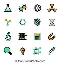 wektor, płaski, nauka, ikony, komplet