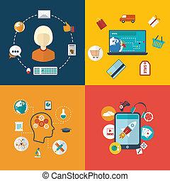 wektor, płaski, pojęcie, entertainments., nowoczesny, ilustracja, e-handel, infographic, projektować, towarzyski, e-education, sieći