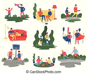 wektor, płaski, różny, komplet, dzieciaki, spędzając, ojcowie, actions., ich, temat, synowie, ojcostwo, czas, dom, outdoor., tatusiowie