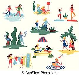 wektor, płaski, różny, komplet, matki, mamusie, spędzając, na wolnym powietrzu, ich, dzieciaki, czas, dom, actions., córi, szczęśliwy