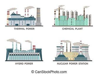 wektor, płaski, różny, przemysłowy, moc, ilustracja, komplet, plants., typy