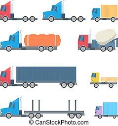 wektor, płaski, wystawiany zamiar, ciężarówki