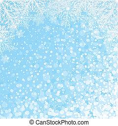 wektor, płatki śniegu, zasłona