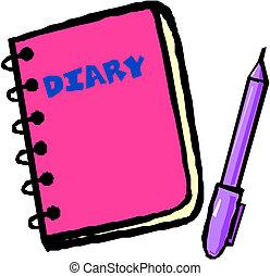 wektor, pamiętnik, ilustracja
