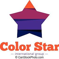 wektor, papier, styl, multicolor, gwiazda, logo., płaski, pasiasty, gwiazda, abstrakcyjny, symbol