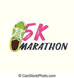 wektor, pasaż, illustration., sneakers., 5k, wypadek, maraton