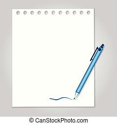 wektor, pióro, papier, tło, ilustracja