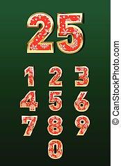 wektor, piękny, projektować, boże narodzenie, czerwone liczby, color., złoty, komplet
