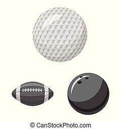 wektor, piłka, illustration., sportowy, poznaczcie., ilustracja, komplet, sport, pień