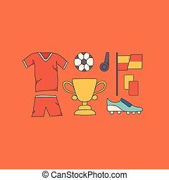 wektor, piłka nożna, ilustracja