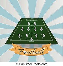 wektor, piłka nożna, komplet, ilustracja, taktyczny