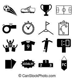 wektor, piłka nożna, komplet, piłka nożna, ikona