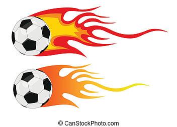 wektor, piłka nożna, płomienie, piłka